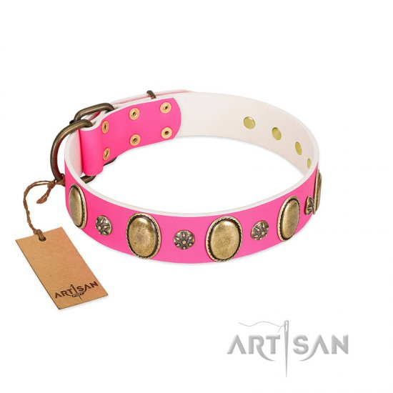 """Hotsie Totsie"" FDT Artisan Pink Leather Pitbull Collar with Ovals and Small Round Studs"