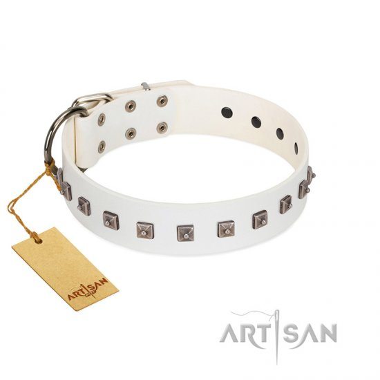 """True Grace"" Premium Quality FDT Artisan White Designer Leather Pitbull Collar"