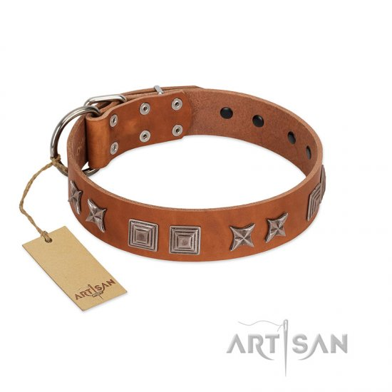 """Antique Figures"" FDT Artisan Tan Leather Pitbull Collar with Silver-like Engraved Plates"