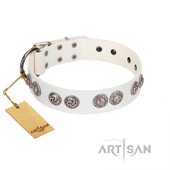 """Eye Candy"" Appealing FDT Artisan White Leather Pitbull Collar with Chrome Plated Medallions"