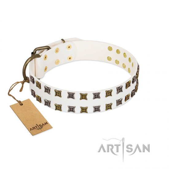 """Ice Peak"" FDT Artisan White Leather Pitbull Collar with Silvery and Goldish Decorations"