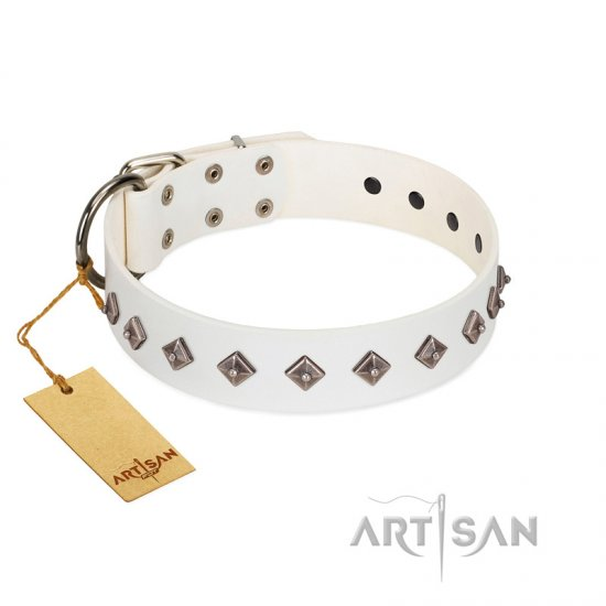 """Snowy Day"" Stylish FDT Artisan White Leather Pitbull Collar with Small Dotted Pyramids"