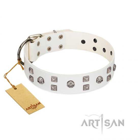 """Rock the Sky"" Durable FDT Artisan White Leather Pitbull Collar with Chrome-plated Decorations - Click Image to Close"