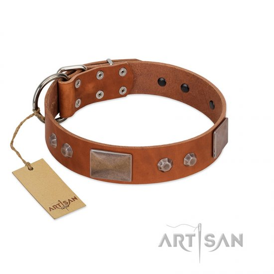 """Great Obelisk"" Handcrafted FDT Artisan Tan Leather Pitbull Collar with Large Plates and Pyramids"