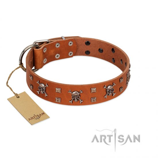 """Rebellious Nature"" FDT Artisan Tan Leather Pitbull Collar Embellished with Crossbones and Square Studs"