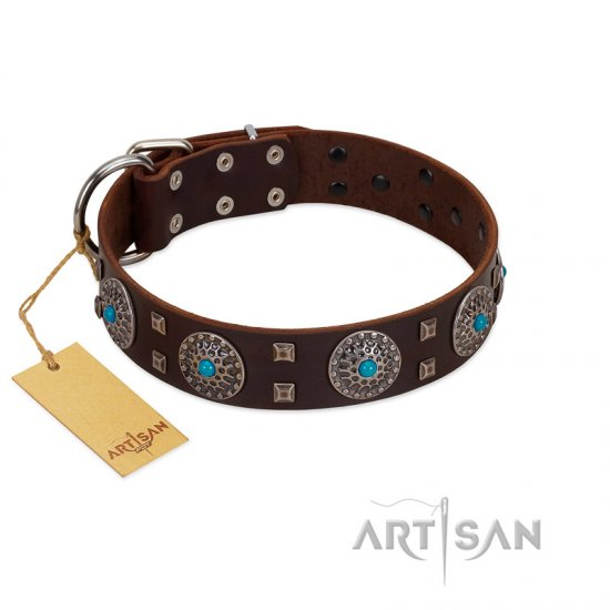 """Hypnotic Stones"" FDT Artisan Brown Leather Pitbull Collar with Chrome Plated Brooches and Square Studs"