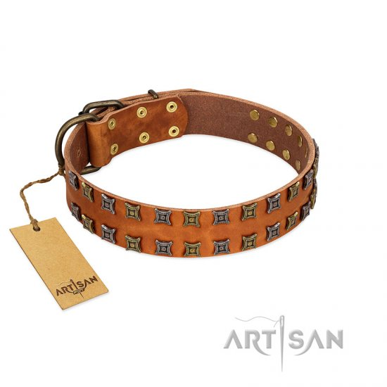 """Terra-cotta"" FDT Artisan Tan Leather Pitbull Collar with Two Rows of Studs"