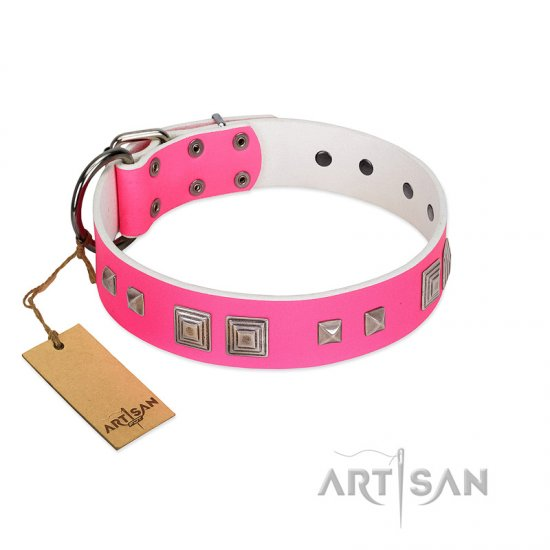 """Rosy Evolution"" Designer Handmade FDT Artisan Pink Leather Pitbull Collar"