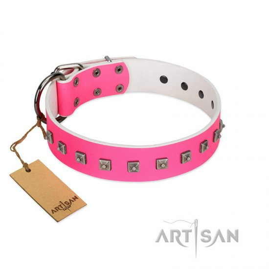 """Queen of Hearts"" Handcrafted FDT Artisan Pink Leather Pitbull Collar with Dotted Studs"
