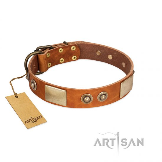 """Perfect Blend"" FDT Artisan Tan Leather Pitbull Collar 1 1/2 inch (40 mm) wide"