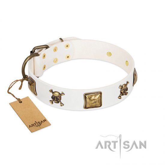 """Glo Up"" FDT Artisan White Leather Pitbull Collar with Skulls and Crossbones Combined with Squares"
