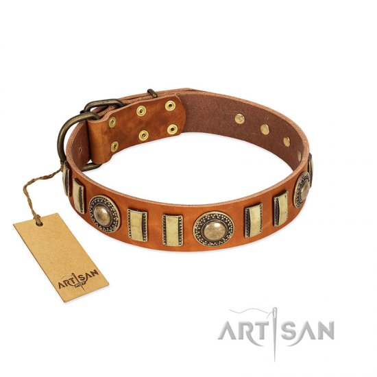 """Happy Hound"" FDT Artisan Tan Leather Pitbull Collar with Elegant Decorations"