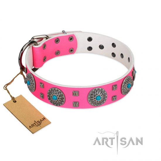 """Pink Delight"" FDT Artisan Pink Leather Pitbull Collar for Everyday Walking"