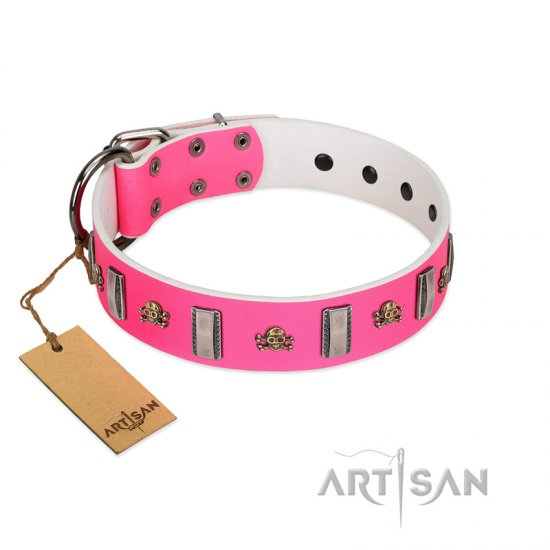 """Sea Dog"" Trendy FDT Artisan Pink Leather Pitbull Collar with Plates and Skulls"