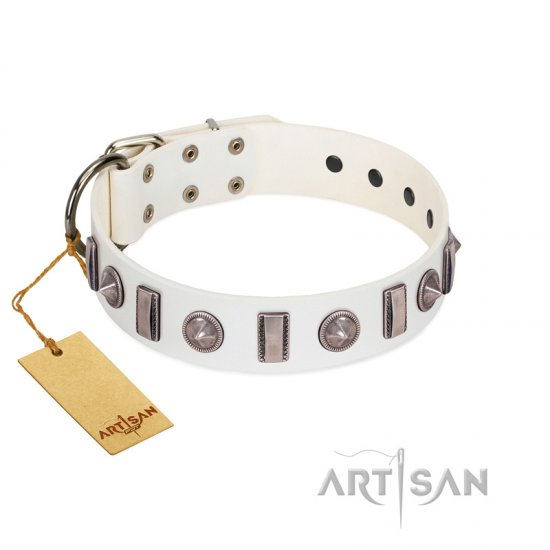 """Icy Spike"" Designer FDT Artisan White Leather Pitbull Collar with Silver-Like Decorations"