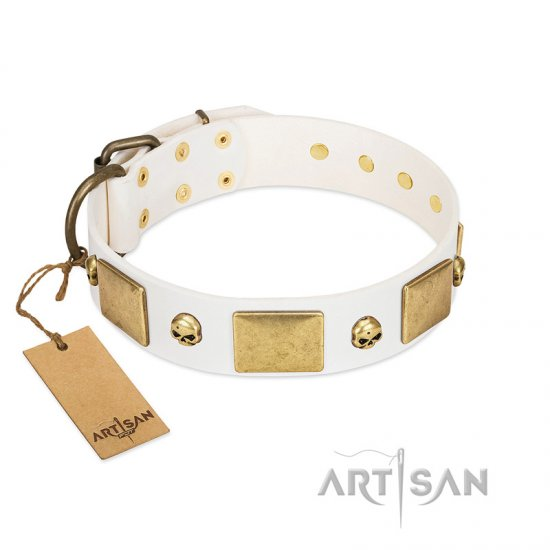 """Inspiration"" FDT Artisan White Leather Pitbull Collar with Antiqued Skulls and Plates"