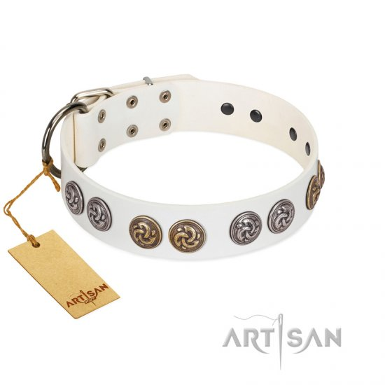 """White Moonlight"" FDT Artisan White Leather Pitbull Collar with Elegant Decorations"