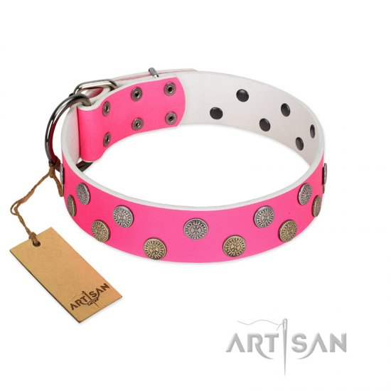 """Lucky Pink"" Designer FDT Artisan Pink Leather Pitbull Collar with Medallions"