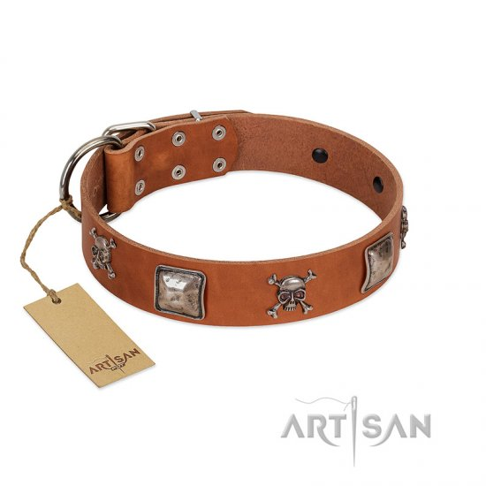 """Amorous Escapade"" Embellished FDT Artisan Tan Leather Pitbull Collar with Chrome Plated Crossbones and Plates"