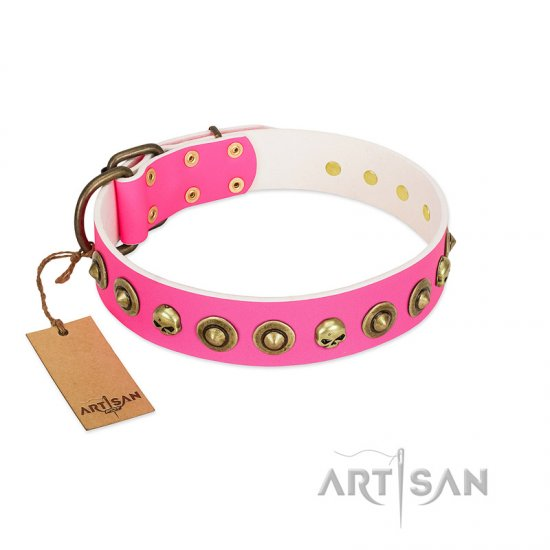 """Pawty Time"" FDT Artisan Pink Leather Pitbull Collar with Decorative Skulls and Brooches"