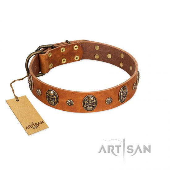 """Rockstar"" FDT Artisan Tan Leather Pitbull Collar with Engraved Studs and Medallions"