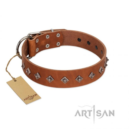 """Broadway"" Handmade FDT Artisan Tan Leather Pitbull Collar with Dotted Pyramids"
