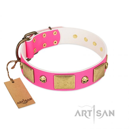 """Glammy Voyage"" FDT Artisan Pink Leather Pitbull Collar with Stylish Bronze-like Decorations - Click Image to Close"