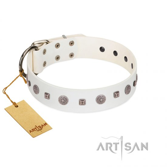 """Drops on Snow"" Handmade FDT Artisan White Leather Pitbull Collar Adorned with Silver-Like Studs"
