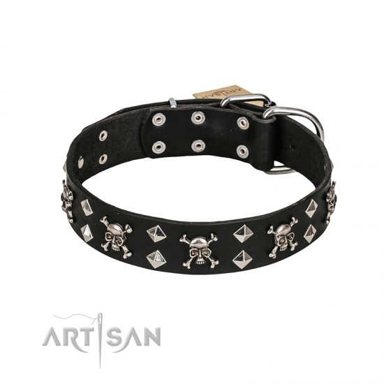 'Rock 'n' Roll Style' FDT Artisan Fancy Leather Pitbull Collar with Skulls, Bones and Studs 1 1/2 inch (40 mm) wide