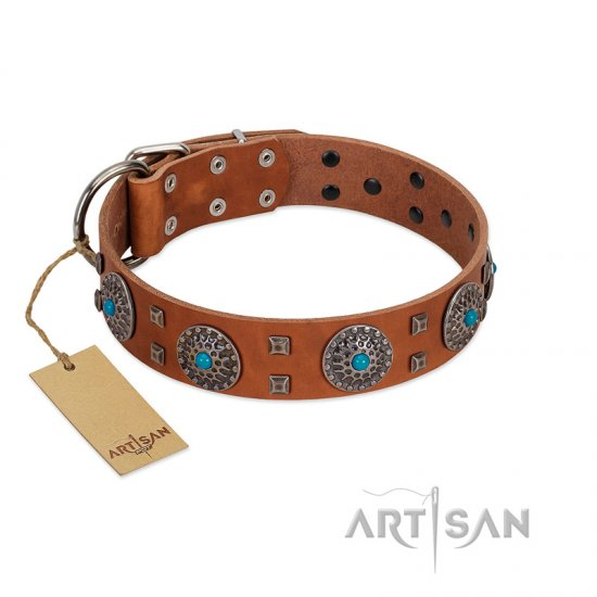 """Blue Sands"" FDT Artisan Tan Leather Pitbull Collar with Silver-like Studs and Round Conchos with Stones"