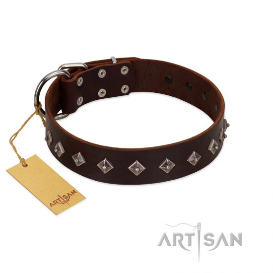 """Boundless Energy"" Premium Quality FDT Artisan Brown Designer Leather Pitbull Collar with Small Pyramids"