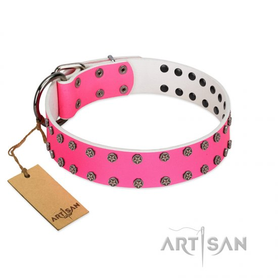 """Pink Fashion"" Designer FDT Artisan Pink Leather Pitbull Collar with Silver-Like Studs"