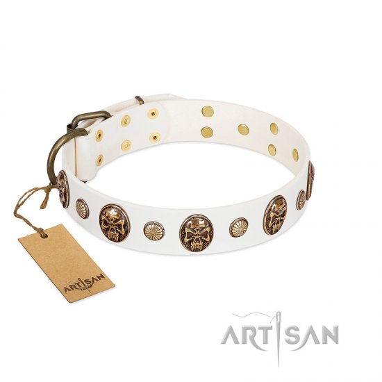 """Fatal Beauty"" FDT Artisan White Leather Pitbull Collar with Old Bronze-like Studs and Oval Brooches"