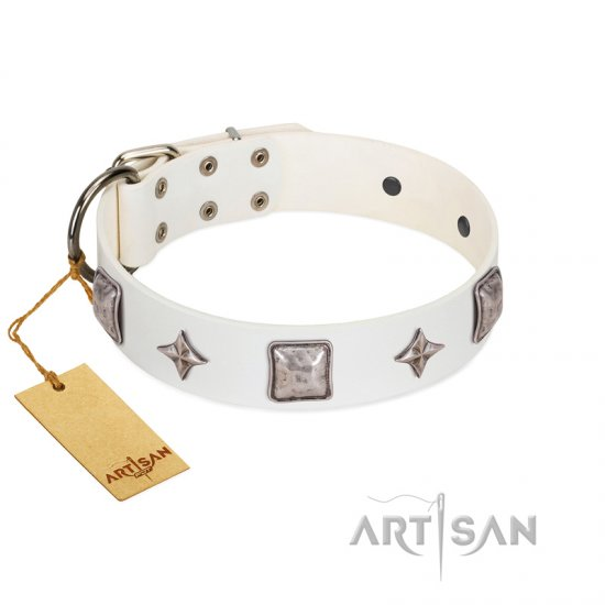 """Vanilla Ice"" FDT Artisan Handmade White Leather Pitbull Collar with Silver-like Adornments"