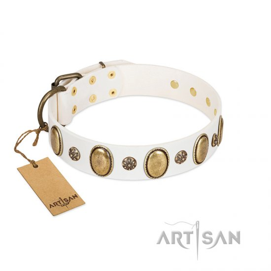 """Nifty Doodad"" FDT Artisan White Leather Pitbull Collar with Amazing Large Ovals and Small Studs"