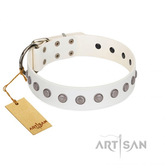 """Flower Boom"" FDT Artisan White Leather Pitbull Collar"