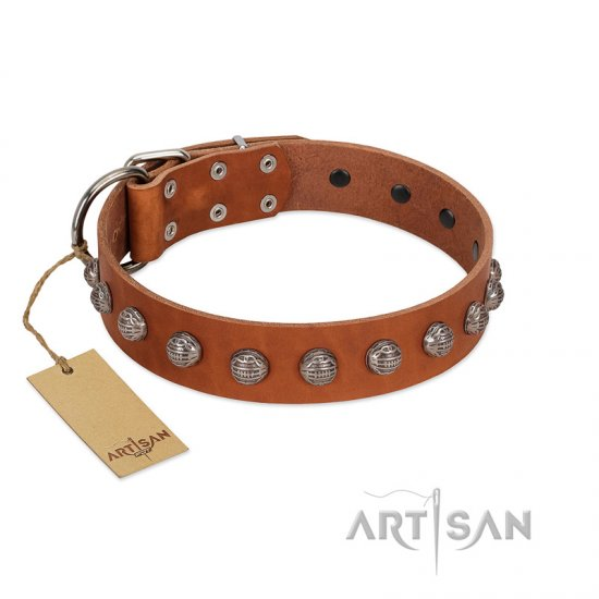 """Heroic Deeds"" Designer Handmade FDT Artisan Tan Leather Pitbull Collar"