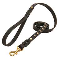 Studded Leather Dog Leash for Pitbull Walking and Training