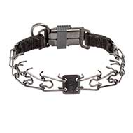 Black Stainless Steel Pitbull Pinch Collar with Click Lock Buckle - 1/11 inch (2.25 mm) prong diameter