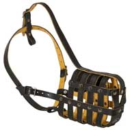Adjustable Soft Padded Leather Basket Super Ventilation Muzzle for Pit Bull