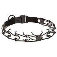 Black Stainless Steel Pitbull Dog Pinch Collar with Click-Lock Buckle - 1/8 inch (3.2 mm) link diameter