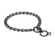 """Fur Protector"" Black Stainless Steel Pitbull Choke Collar - 1/6 inch (4 mm) wire diameter"