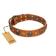 """Call of Feat"" FDT Artisan Tan Leather Pitbull Collar with Old Bronze-like Studs and Oval Brooches"