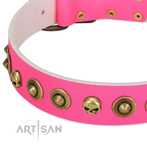 Incredible embellishments on natural leather collar for your canine