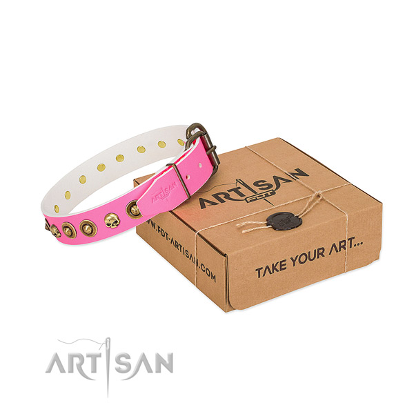 Genuine leather collar with exceptional decorations for your pet