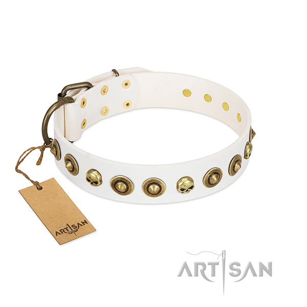 Full grain natural leather collar with stylish design decorations for your pet