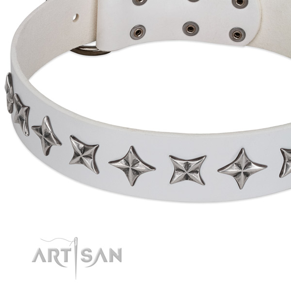 Handy use decorated dog collar of strong full grain leather