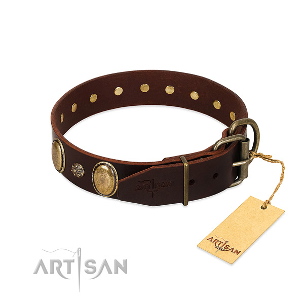 Everyday walking soft to touch genuine leather dog collar