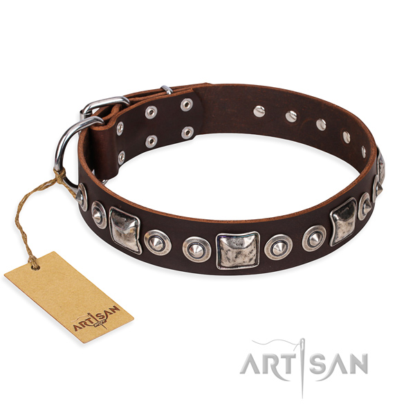 Full grain natural leather dog collar made of top notch material with strong D-ring