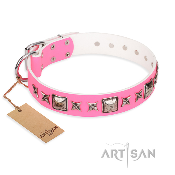 Full grain natural leather dog collar made of top rate material with rust-proof fittings